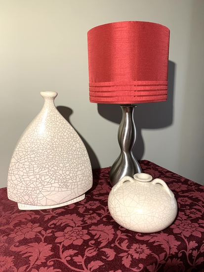 2 William KJ Crackle Vases with Table Lamp