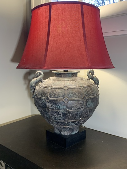 Decorative Metal Lamp with Dragon Accents