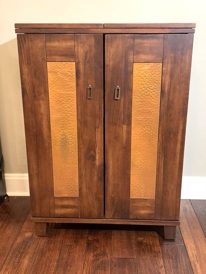 Modern Wine Bar Cabinet with Copper Inlay Details