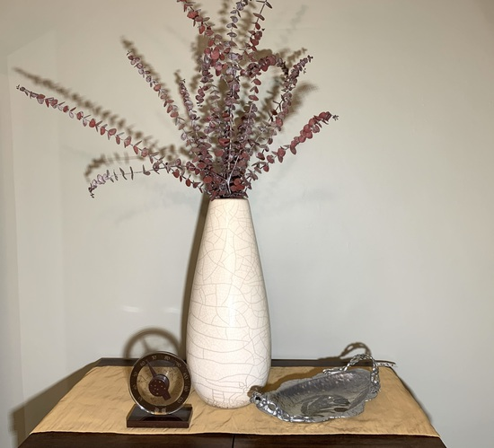 William KJ Crackle Vase, Hand Wrought Creations Dish, & Decorative Thermometer.