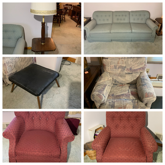 Sofa, 3 Chairs, Shredder, Foot Stool, and Lamp Table