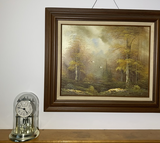 2 Oil on Canvas Art Pieces and Elgin Clock
