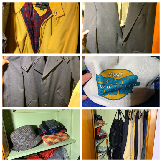 Contents of Closet in Living Room - Coats, Shoes, Hats & More.  See Pictures