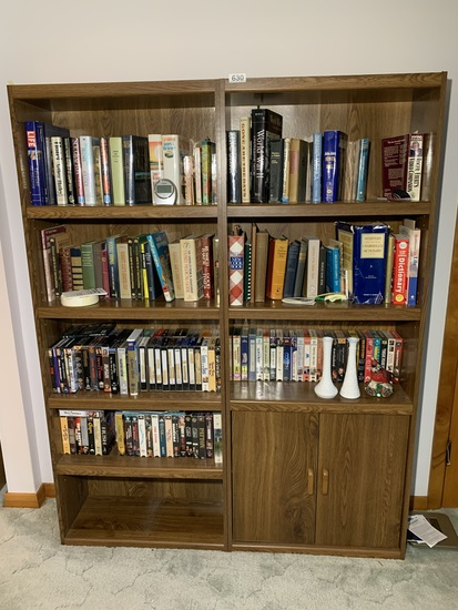 2 Book Shelves with Contents - Books, DVD's, VHS
