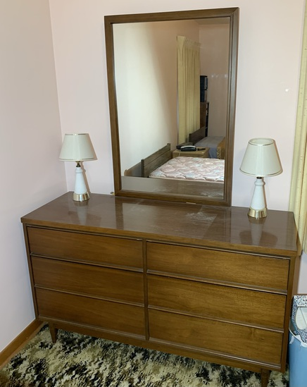 Mid Century Style Dresser with side Lamps