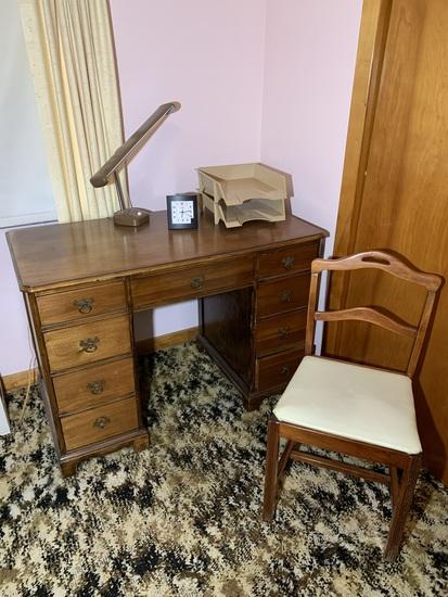 Desk, Chair, Desk Lamp, File Rack, and Clock