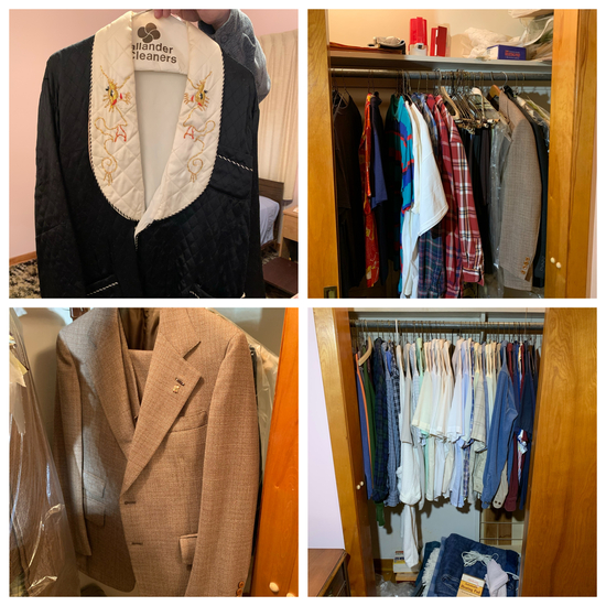 Contents of Bedroom Closet - Men's Shirts, Heating Blankets, Handmade Asian style Jacket