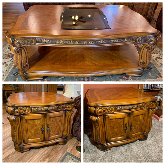 Gorgeous Aico Royal Oak End Tables and Coffee Table.  See Photos