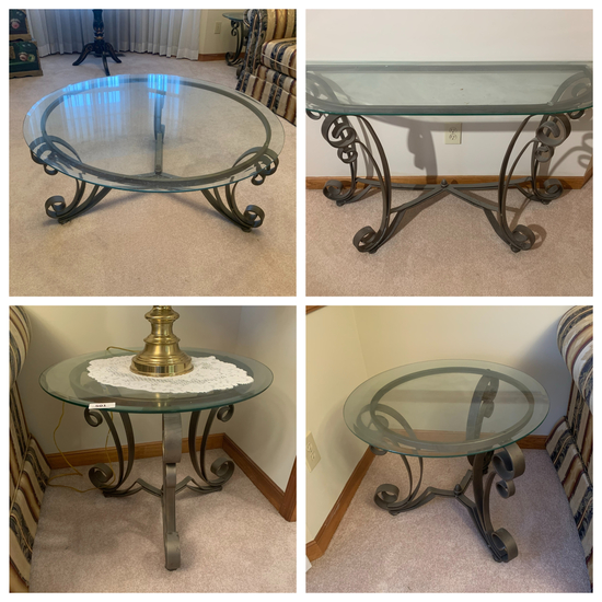 4 Piece Set Glass and Metal Coffee Table, 2 Side Tables and Entry Table