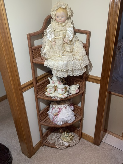 Franklin Heirloom Porcelain Baby Doll in Chrinsing Dress, Tea Set, Shelf & More