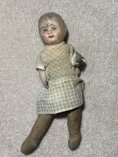 Antique Early Composition Straw Filled  Doll