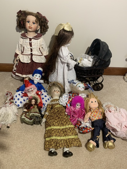 Assortment of Dolls and Clown Dolls.  See Photos