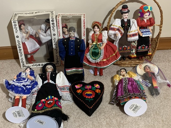 Group of dolls in various international styles