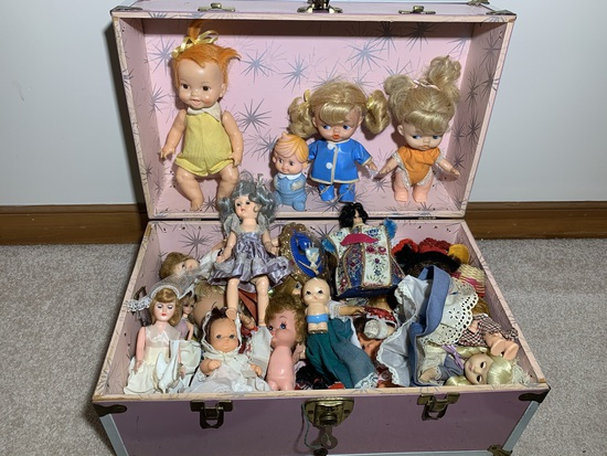 Antique Toy Dolls and Trunk.  See Photos