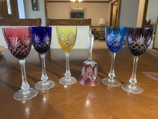 5 Hungarian Style Crystal Stemware with Matching Bell