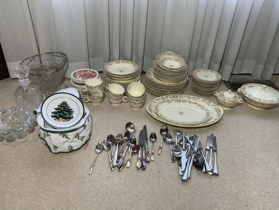 Taylor Smith China, Silver Plate Flatware,  Oneida Flatware, Decanter and More
