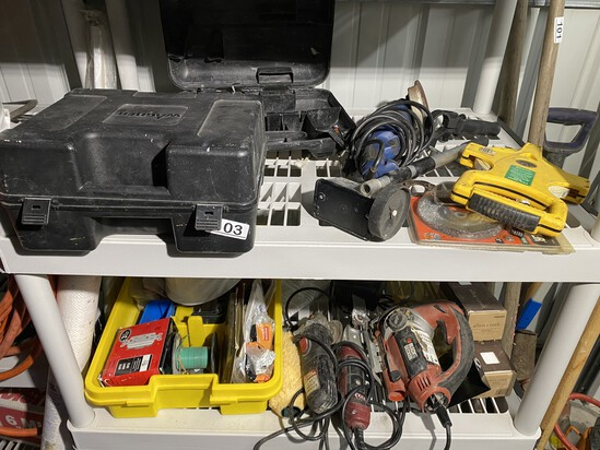 Two shelves of assorted tools and more