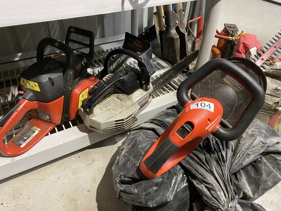 2 gas chainsaws and a hedge trimmer