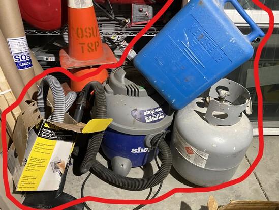 Shop Vac, propane cylinder, kerosene can