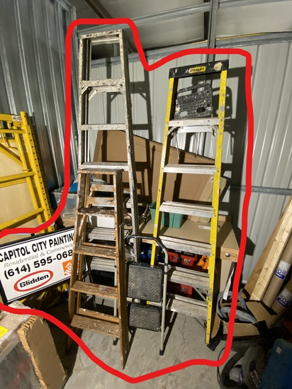 3 ladders, stool, metal sign lot