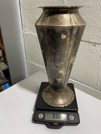 Large Heavy 838 grams Sterling Silver Vase