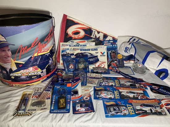 Group of Mark Martin Collectibles - Tin, Key Chains, Pennant, Hot Wheel Cars, Stickers & More