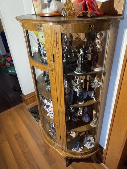 Nice vintage curved glass oak curio cabinet