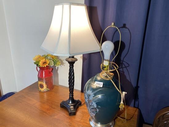 2 lamps and miniature milk jug