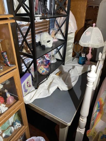 Black shelf, lamp, Metal desk etc