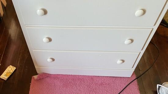 Wooden three drawer dresser