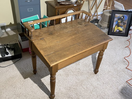 Unusual Antique Desk with Turned Legs