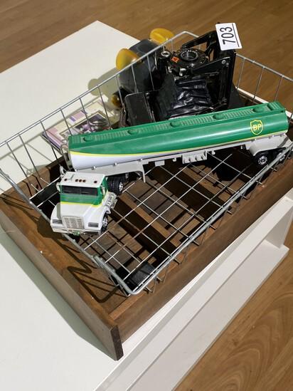 Antique Camera, shelf, basket, toy robot and more