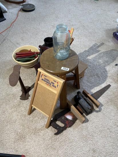 Large group assorted vintage, antique primitives