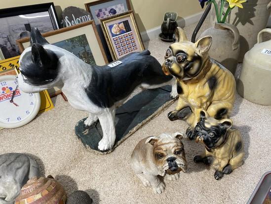 Large concrete dog, two chalk dogs PLUS