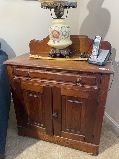 Antique Walnut Cabinet with Backsplash