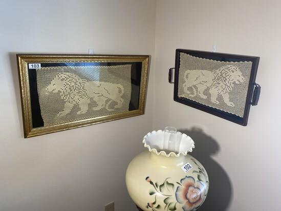 2 Antique Folk Art Doilies - Lions