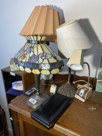 Group lot of lamps including Tiffany Style