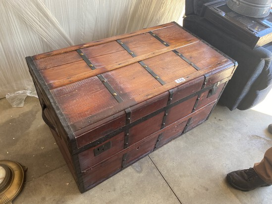 Nice large flat topped antique trunk