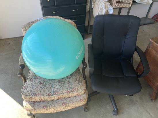 Two Chairs and an exercise ball lot