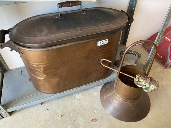 Large copper basin with lid PLUS