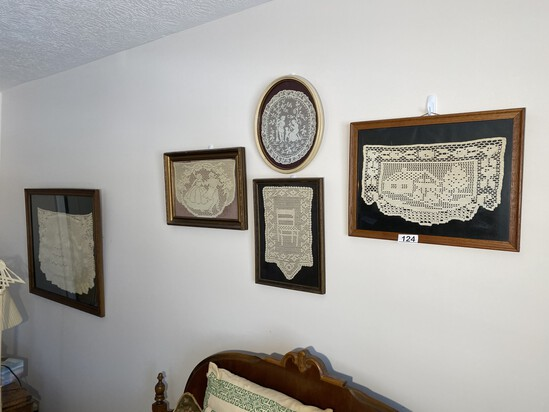 Group lot of 4 framed Doilies