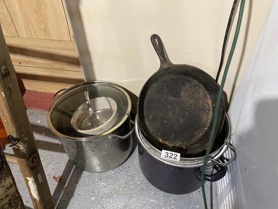 Lodge Cast Iron Pan plus cooking pots