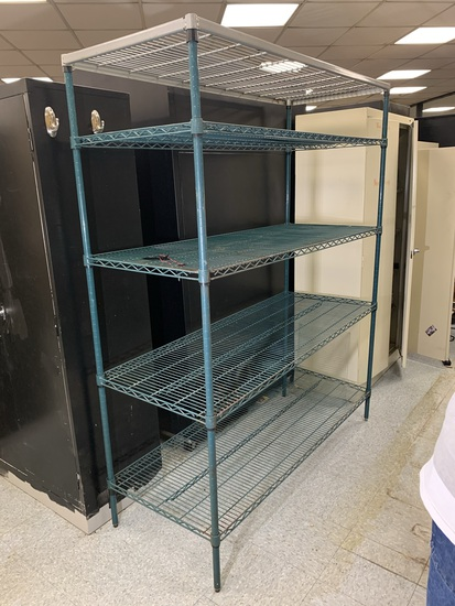 NSF Green Epoxy Coated Wire Shelving Unit
