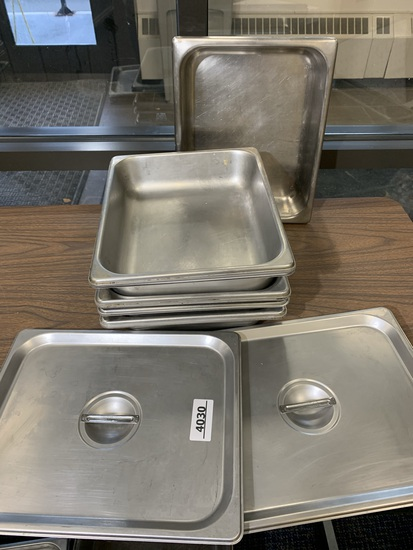 9 Stainless Steel NSF Steam Table Pans Including 2 Stainless Steel Lids