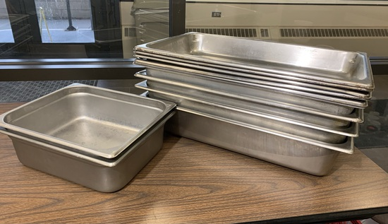 9 Stainless Steel NSF Steam Table Pans  & 2 Stainless Steel Winco NSF Steam Table Pans