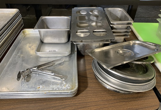 Assortment of Stainless Steel SNF Steam Table Pans, Trays, Lids, and Squeeze Bottle Holder