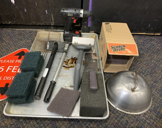Group of Grill Cleaning Items - Scrapers, Scotch Brite Pads & More