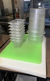 4 - 4 Quart Cambro Plastic Containers, 7 Carlisle Small Plastic Containers and 3 Cutting Boards
