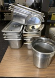 Assortment of Stainless Steel NSF Steam Table Pans & 8 Quart Pot  with 2 Lids
