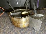 5 Heavy Duty 3-Sided Triangle Deep Fat Fry Fryer Pan Baskets with Winco Pot